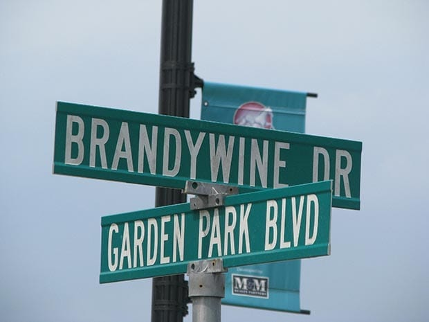 The old road sign is all that's left of Brandywine.