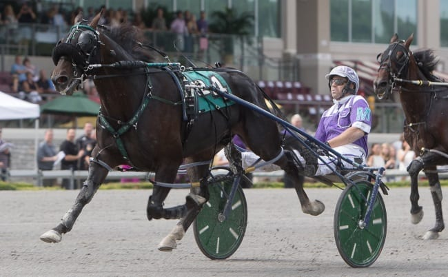 Racing Hill (Brett Miller) set a career best 1:48.4 while winning the 50th edition of the Delvin Miller Adios | Chris Gooden