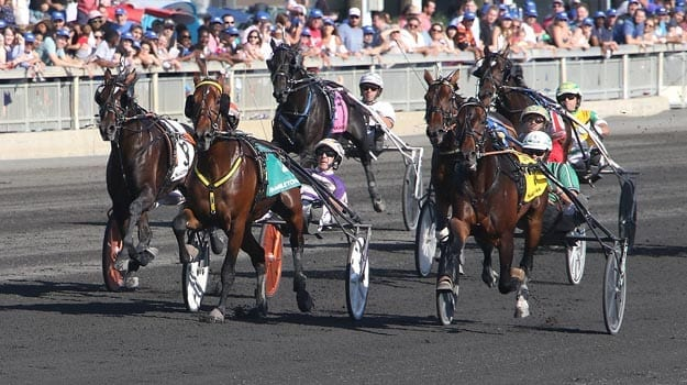 What The Hill and David Miller (centre) were first to the wire, but Perfect Spirit (Ake Svanstedt) (right) were declared the winners of the 92nd Hambletonian when What The Hill was disqualified for interference in the stretch | Michael Lisa