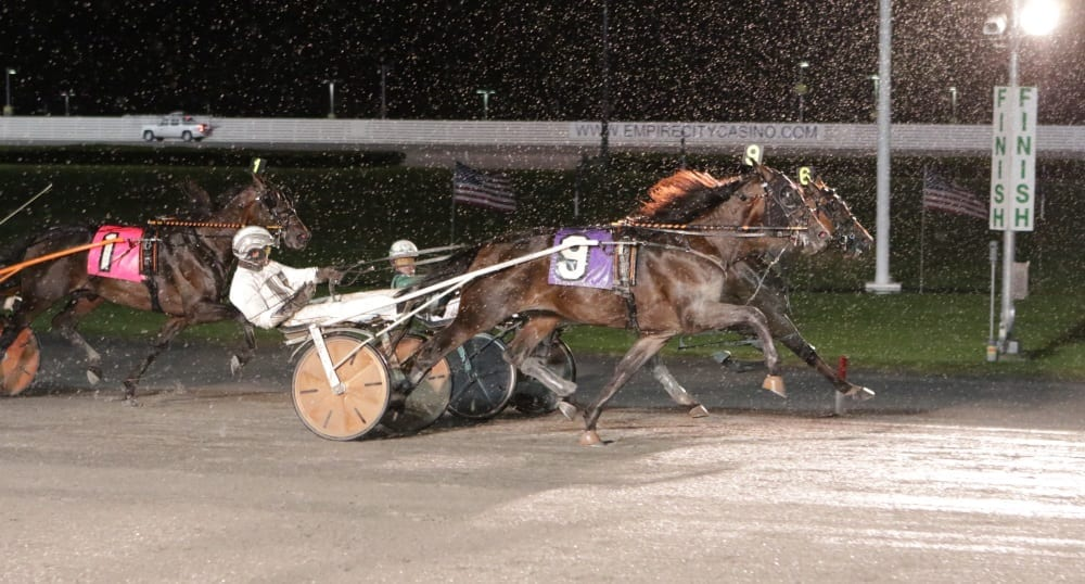 Brian Sears needed some good fortune to craft a victory in the Yonkers Trot with Top Flight Angel, who edged Yes Mickey and Ake Svanstedt at the wire   Mike Lizzi