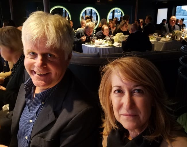 Trainer Jerry Riordan and his wife, Lisa, were part of the group of Yonkers International Trot participants and VIPs that enjoyed a lavish yacht cruise on the Hudson River on Thursday evening | Michael Rooney