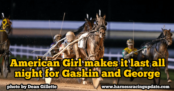 American Girl (shown winning in 2014 at Hoosier Park) recently won her 50th career race.
