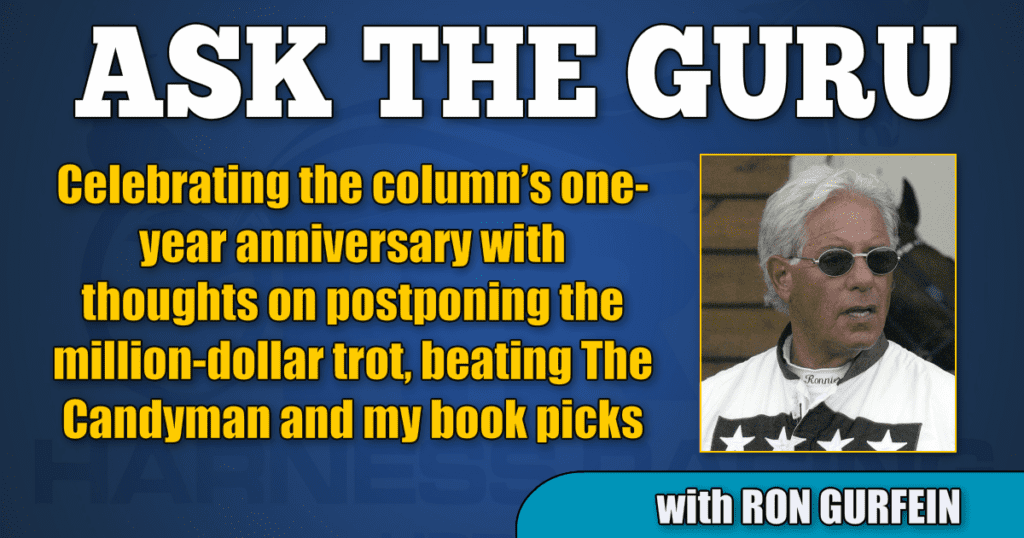 Celebrating the column's one-year anniversary with thoughts on postponing the million-dollar trot, beating The Candyman and my book picks