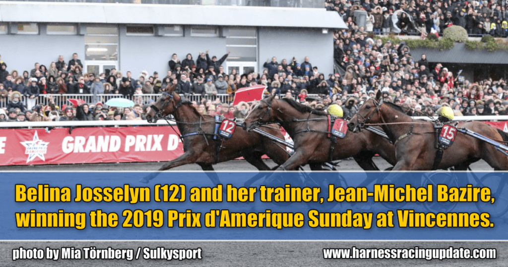 Belina Josselyn (12) and her trainer, Jean-Michel Bazire, winning the 2019 Prix d'Amerique Sunday at Vincennes.