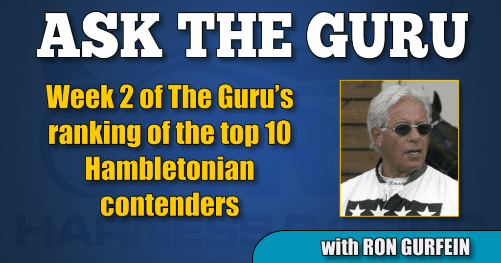 Week 2 of The Guru's ranking of the top 10 Hambletonian contenders: