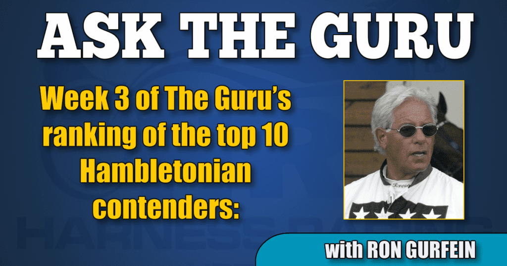 Week 3 of The Guru's ranking of the top 10 Hambletonian contenders: