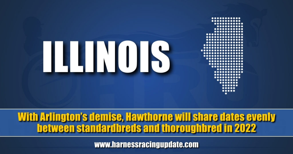 With Arlington's demise, Hawthorne will share dates evenly between standardbreds and thoroughbred in 2022