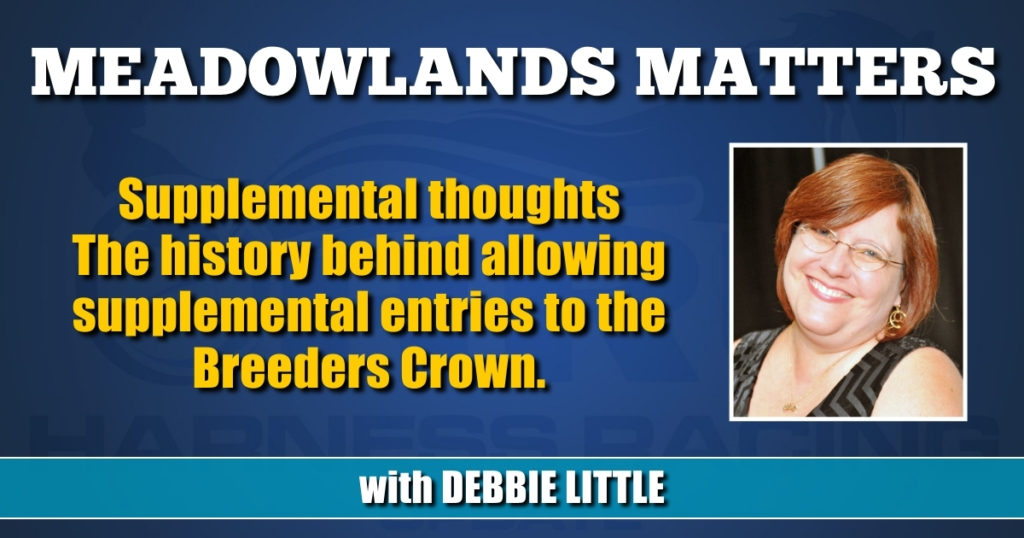 Supplemental thoughts The history behind allowing supplemental entries to the Breeders Crown.